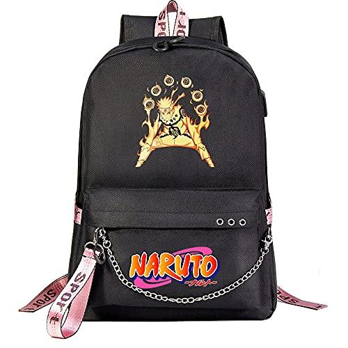 ZZGOO-LL Uzumaki Naruto/Sharingan with Chain USB Mochila de Anime Backpack de Escuela Secundaria para Estudiantes para Mujeres/Hombres Black-C