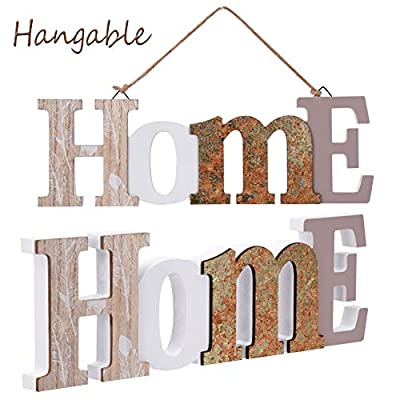 Furniture Life Rustic Wood Home Decorative Sign, Decorative Wooden Block Word Signs, Hangable Home Signs Wall Decor, Standing Cutout Word Decor, 16.5 X 5.9 Inches, Multicolor