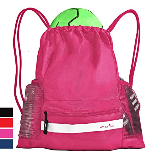 Athletico Drawstring Soccer Bag - Soccer Backpack for Boys or Girls Can Also Carry Basketball or Volleyball (Pink)