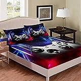 Gamepad - Juego de cama para juegos de cama de tamaño individual, diseño de galaxia, color morado y cielo estrellado, para niños, adolescentes, sala de juegos, decoración suave con bolsillo profundo