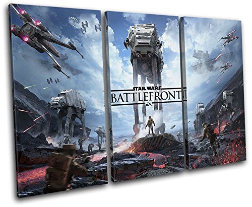 Bold Bloc Design - Star Wars Battlefront Gaming 150x100cm Treble Canvas Art Print Box Framed Picture Wall Hanging - Hand Made in The UK - Framed and Ready to Hang