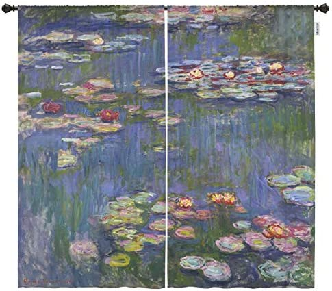 Moslion Living Room Window Curtains Water Lilies by Claude Monet Blackout Door Window Curtains product image