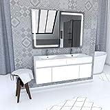 Aurlane Ensemble Meuble de Salle de Bain Blanc 120cm Suspendu a Portes + Vasque ceramique Blanche + Miroir