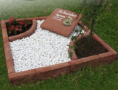 VARIOGART exclusiv Graphikstein® Bordure de tombe double en grès Rouge 200 x 200 cm