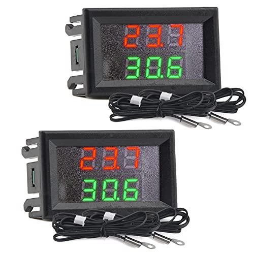 Mini DC 4–28 V Dual-Display Digitales Thermometer mit NTC wasserdichter Metallsonde Temperaturfühler Tester Auto Zimmer Innen (rot + grün) 2 Stück