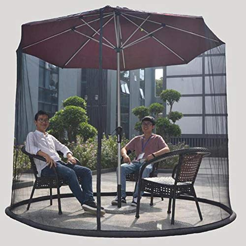 YONG 9 ft Umbrella Mosquito Net Canopy Patio Set,Mesh Mosquito Net Enclosure,Umbrella Mosquito Patio Table Screen - Patio Umbrella,Suitable for gazebos, parasols(Black)