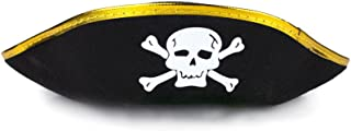 Fun Central AT853 1pc Black Pirate Hat for Kids, Pirate Hats Kids, Child Pirate Hat, Hat for Kids, Pirate Costume hat, Costume Pirate Hat for Kids - Black and Gold