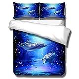 HNHDDZ 3D Delfin Schildkröte Bettbezug Ozean Tier Geheimnisvoll Unterwasser Welt Sonnenuntergang Drucken Bettwäsche-Set für Kinder Jungen Mädchen Bettbezug mit Reißverschluss (Stil 4, 135x200 cm)