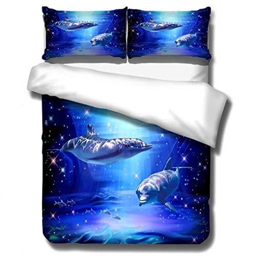 HNHDDZ 3D Delfín Funda de edredón Oceano Tortuga Animal Misterioso Submarino Atardecer Mundial Impresión Juego de Cama para Niños Chicos Chica Funda nórdica Azul (Estilo 4, 150x200 cm - Cama 90 cm)