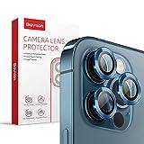 [3 Pcs]Protector Camara iPhone 12 Pro, Baytion Protector de Lente de Aleación de Aluminio de 360 Grados [Resistencia al Rayado] [Color Original] - Azul pacífico