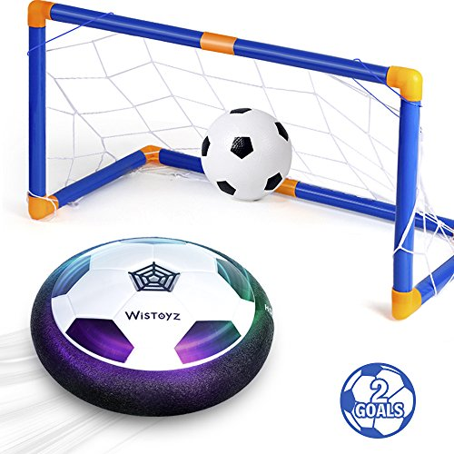 Image of the WisToyz Kids Toys Hover Soccer Ball Set with 2 Goals, Air Soccer with Led Light, Excellent Time Killer for Boys/Girls, Hover Toys with Foam Bumper for Indoor Games, an Inflatable Ball Included
