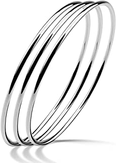 Meilanduo الصلبة 925 الفضة الاسترليني 2 مم بسيط مصقول جولة الإسورة أساور للنساء الفتيات