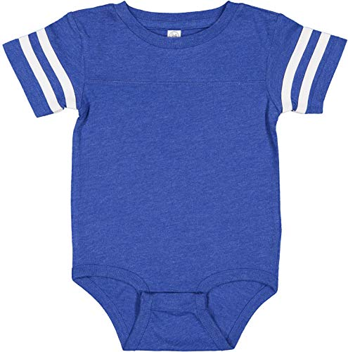RABBIT SKINS, Baby Soft Short Sleeve Football Bodysuit, Vintage Royal Blended White, 6 Months