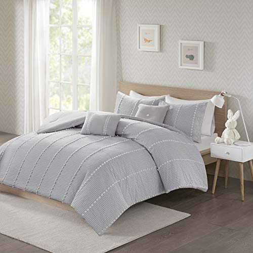 Urban Habitat Kids Ayden Comforter 100% Cotton Gingham Jacquard Poms Stripes Embroidered Pillow Soft Overfilled Down Alternative Hypoallergenic All Season Bedding-Set, Twin/Twin XL, Grey
