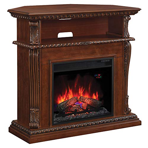 Corinth Electric Fireplace TV Stand in Walnut with Infrared Firebox (Heats 1,000...