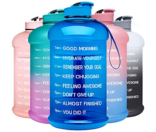 Venture Pal Large 128oz Leakproof BPA Free Fitness Sports Water Bottle with Motivational Time Marker to Ensure You Drink Enough Water Throughout The Day-1Gallon-Blue