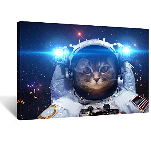 Creative Art - Canvas Prints Wall Art Pop Galaxy Glasses Cat Funny Art Poster Print on Canvas Modern Wall Decor Home Decoration Stretched Gallery Canvas Wrap Giclee Print Ready to Hang (Astronaut Cat)