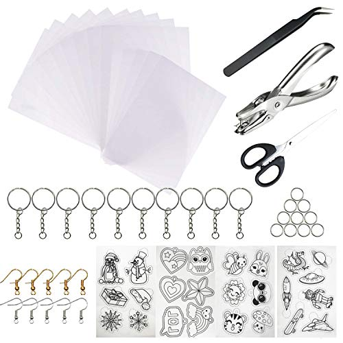 Woohome 52 Pz Kit di Fogli di Plastica Termoretraibile, 19 Pz Foglio Termoretraibili con Perforatore, Portachiavi, Gancio per L'orecchio e Pinzette per Artigianato Creativo