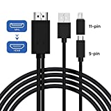 Micro USB to HDMI Cable Adapter, MHL to HDMI Converter with Video Audio Output for Android Samsung...