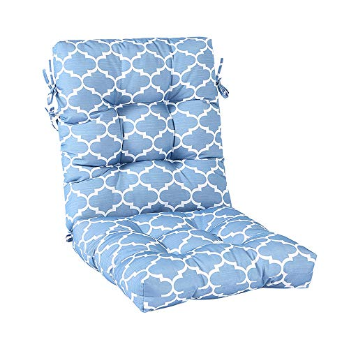 Raclvay Outdoor Chair Cushion, Blue Geometric Pattern, Outdoor Rocking Chair Cushions, Full-Length Ties for Slipproof Support, 48 x 20 inches
