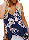 BLENCOT Womens Ladies Sexy V Neck Spaghetti Strap Floral Tank Tops Solid Flowy Sleeveless Blouses Shirts Floral XL