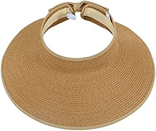 Simplicity Women's Summer Foldable Straw Sun Visor w/Cute Bowtie