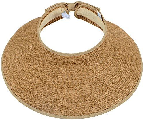 Simplicity Womens Hats Women's UPF 50+ Wide Brim Roll-up Straw Sun Hat Sun Visor Natural