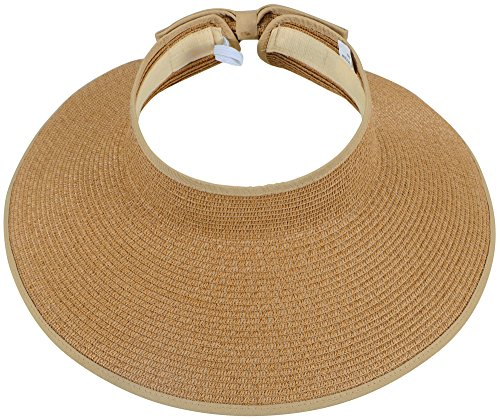 Simplicity Women's UPF 50+ Wide Brim Roll-up Straw Sun Hat Sun Visor Natural