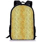 hui-shop zaini scuola mandala oro, motivo fiorito con tema giardino botanico paisley curvy moda persiana giallo marrone per ragazze maschi