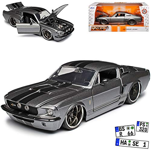 Ford Mustang Shelby GT500 1967 I 2. Generation Coupe Grau mit Streifen in Schwarz 1/24 Jada Modell Auto