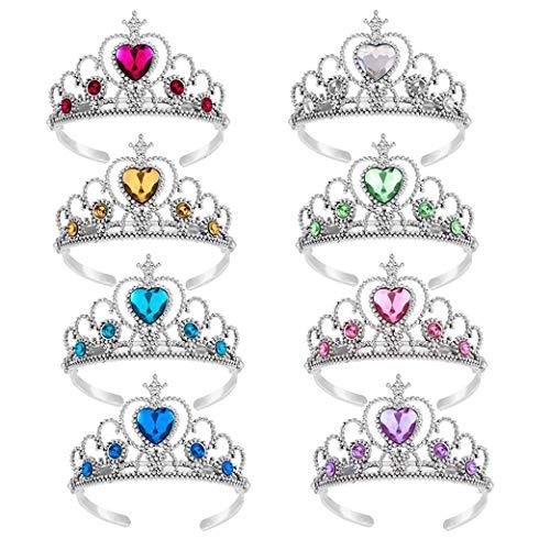 Yeelan verkleiden Sich Tiara Crown Set Prinzessin Kostüm Party Zubehör für Kinder/Mädchen/Kleinkinder (8 Stück, gelb + Marineblau + grün + pink + weiß + rot + himmelblau + lila)