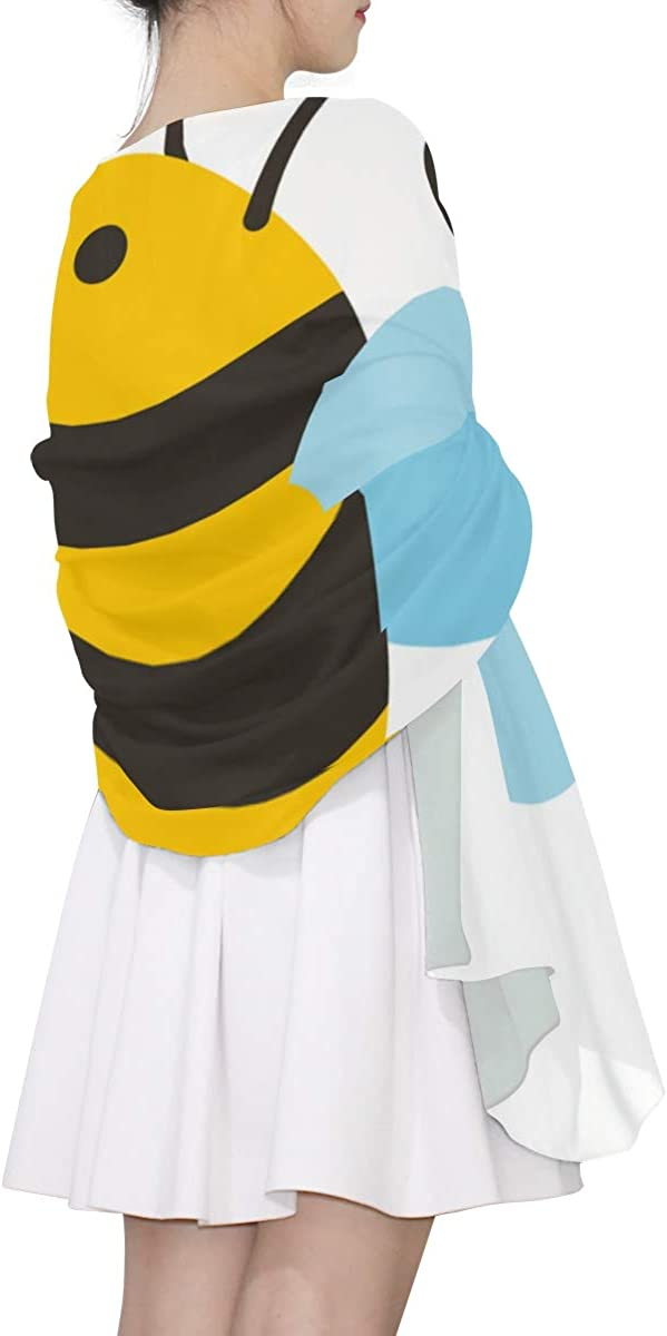 Cute Little Bee Flying Unique Fashion Scarf For Women Lightweight Fashion Fall Winter Print Scarves Shawl Wraps Gifts For Early Spring