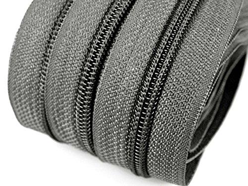 Schnoschi 6 m endlos Reißverschluss 5 mm Laufschiene + 15 Zipper Meterware teilbar...