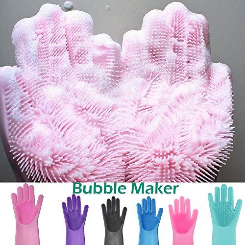 guanti spugna MZY1188 1 Paio di Guanti per Lavare i Piatti in Silicone: Guanti riutilizzabili per la Pulizia Magica