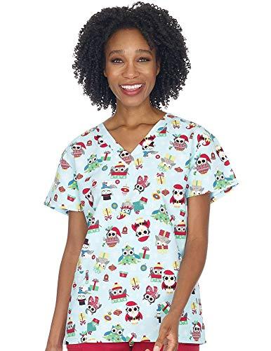 Women's Christmas Nurses Medical Scrub Top - Large