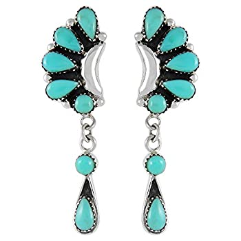 Turquoise Earrings 925 Sterling Silver & Genuine Turquoise  Turquoise