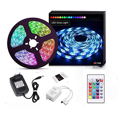 Houkiper Tiras LED 5M,Tiras LED RGB 5050 12V con 300 LEDs, Impermeable 65, Luces Kit con Control Remoto de 24 Botones,15 Colores, Decoración Iluminación Ambiental para Gabinete, Armario