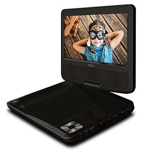 Odys Tara Tragbarer DVD-Player (17,8 cm (7 Zoll) drehbares Display, MPEG4, USB Eingang 2.0) schwarz