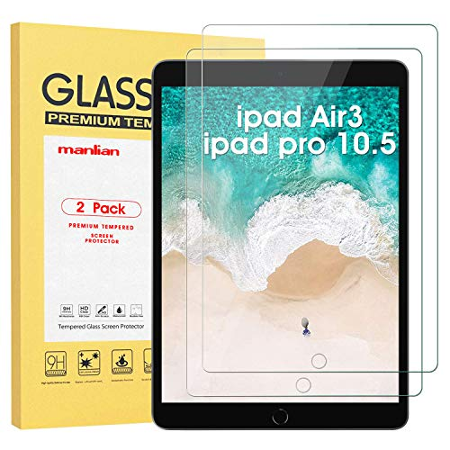 Manlian Screen Protector for ipad Air3 (10.5 Inch 2019 Model) and ipad pro10.5(2017) ,(2-pack) with [HD-clear] [Anti-Scratch] [Anti-Fingerprint] [9H Hardness] Premium Tempered Glass Film.