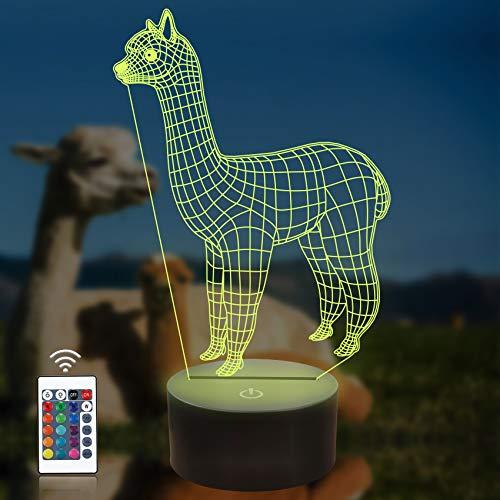 3D Alpaka Illusion lampe, CooPark Tier LED Optisches Hologramm Nachtlicht 16 Farben ändern sich mit Fernbedienung, Kinderzimmer Dekor Kreative Geschenke für Weihnachten Geburtstag Jungen Mädchen