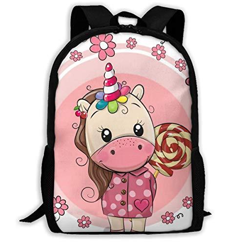 Mochila Escolar Cute Unicorn en Abrigo y con Lollipop Bookbag Casual Bolsa...