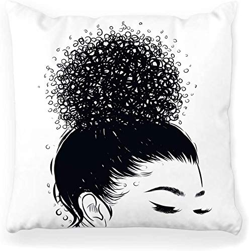 Funda de Almohada Decorativa Cuadrada 16x16 Curly Beauty Girl Hair Long Web 90s Abstract African Afro American Art Beach Decoración para el hogar Funda de Almohada con Cremallera