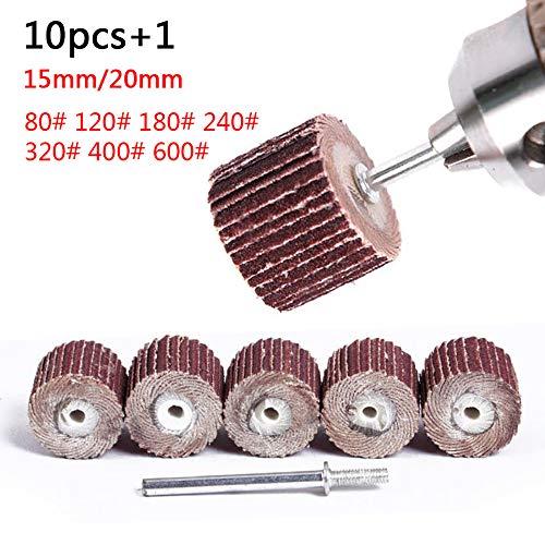 10PC 10-12mm Accesorios Papel de lija Aleta Ruedas de pulido Disco de lijado Disparador Rueda de pulido para herramienta rotativa, 12MM 180Grit