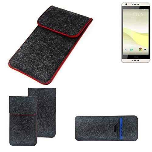 K-S-Trade Handy Schutz Hülle Für HTC Desire 650 Schutzhülle Handyhülle Filztasche Pouch Tasche Hülle Sleeve Filzhülle Dunkelgrau Roter Rand