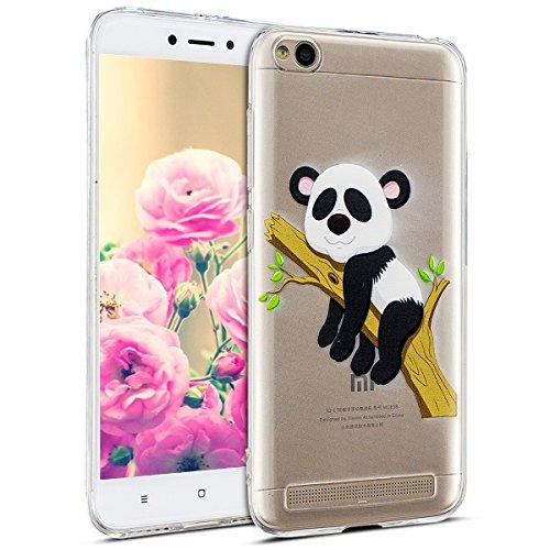 Uposao Kompatibel mit Hülle Xiaomi Redmi 5A Handyhüllen Transparent Weiche Silikon Durchsichtig TPU Kratzfest Schutzhülle Crystal Clear Ultra Dünn Silikonhülle Handytasche,Lustig Panda Baum