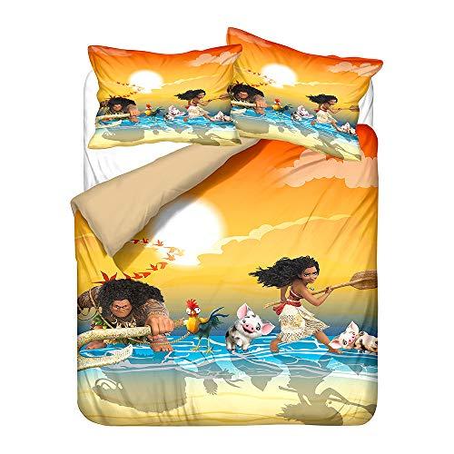 NICHIYO Moana Duvet Cover Bedding Set and Pillowcase Polyester Fibre Microfibre 3D Digital Print Three-Piece Bedding Set (Duvet Cover + Pillow Cases) (01, Double 200 x 200 cm)