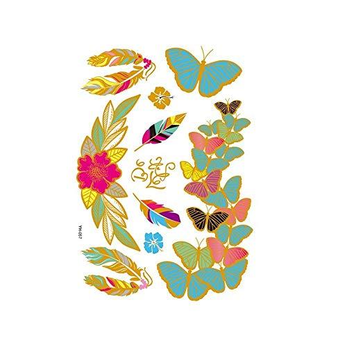 Autocollants de tatouage bronzage rétro autocollants de tatouage imperméables ensemble autocollants d'impression de couleur argent chaud-YH-057_148 * 210MM