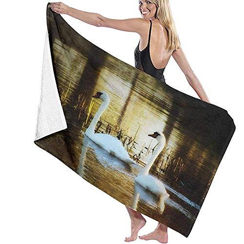 Toalla de Microfibra Secado rápido, Ligera, Absorbente, Suave y grante Yoga, Fitness, Playa, Gimnasio Cisnes Pareja Animal Nadando 130X80cm