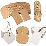 Etiquetas de regalo con guita Etiquetas en blanco Etiquetas de regalo de 200 piezas Etiquetas de papel Kraft vintage, etiquetas marrones y blancas (General Style)