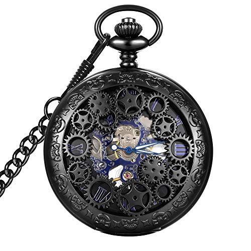 LYMFHCH Steampunk Blue Hands Scale Mechanical Skeleton Pocket Watch with Chain Mens Womens Watch...